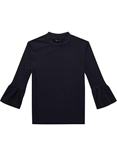 Scotch & Soda Maison Damen T-Shirt Clean Long with Ruffle Sleeve, Blau (Navy 57), Medium
