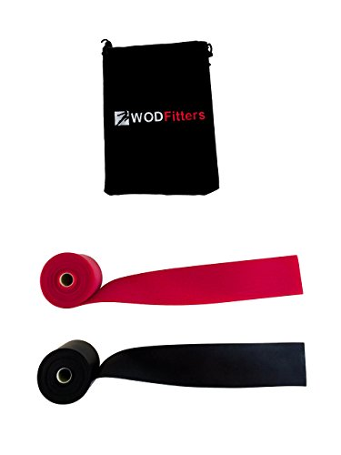 WODFitters Floss Bands 2 Pack - Für Kompression Tack & Flossing, Mobility & Recovery - 2er Pack mit Tragetasche, schwarz / rot