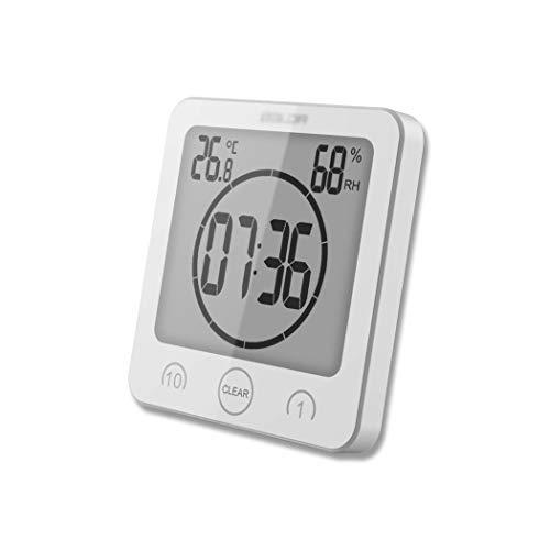 ALEENFOON Digital Badezimmeruhr Duschuhr Wasserdicht mit Saugnapf Thermometer zum Hinstellen Wand Dusche Countdown Timer Digitalwecker Batteriebetrieben Thermometer Hygrometer Innen (Weiß)