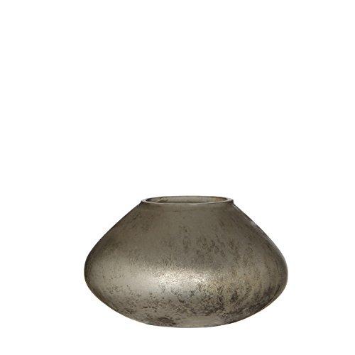 Casa Vivante Yami Teelichthalter, Glas, Silber, 13,5 x 13,5 x 8 cm