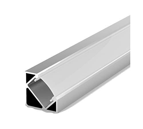 LumenTEC Set: LED Profil, 100cm Profil LED 45° für LED Streifen + Abdeckung LT3 (Milchig)