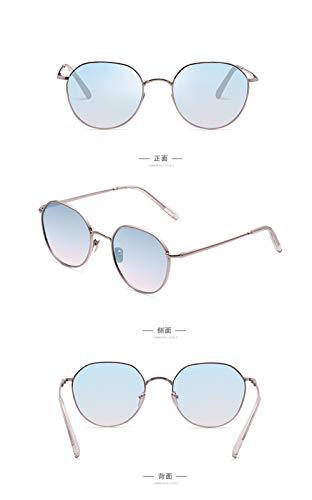 WuLL Mode Metallrahmen Verspiegelt Linse Sonnenbrille Männer und Frauen Trend Persönlichkeit Sonnenbrille rundes Gesicht Brille koreanischen Frühling und Sommer neue Retro-Harajuku-Stil, B