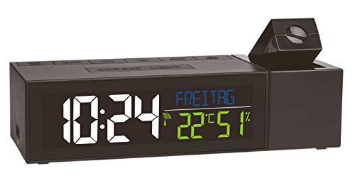 TFA Dostmann Show Funk-Projektionsuhr mit Raumklima, Kunststoff, schwarz, (L) 167 x (B) 66 x (H) 48 mm