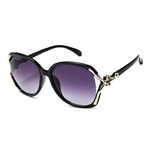 Lankater Frau Sonnenbrille Fahre Elegante übergroße Brillen Mit Metall Klee Dekoration Polarisierten Großes Feld Sunglases