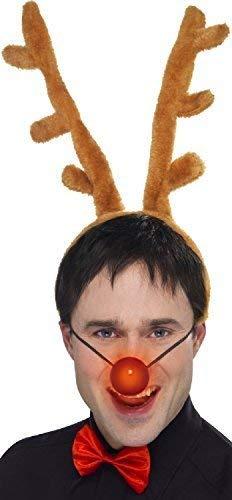 Fancy Me Uomo Donna Si Illumina Renna Rudolph Natale da Festa Divertente Costume Vestito Kit