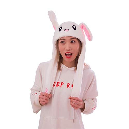 Myhonour Beweglicher Ohr-Kaninchen-Hut, Plüsch Bunny Ohren Stirnband Halloween Tier Ostern Cosplay Kaninchen - Lustige Plüsch-Häschen-Hut-Kappe mit Den Ohren (1)
