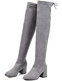 HAOLIEQUAN Moda Donna Stivali Alti Tacchi Spessi Scarpe Casual Invernali  sopra Il Ginocchio Stivali con Punta 10d86778b16