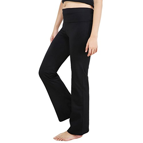 Nite Flite Womens Black Foldover Yoga Pants