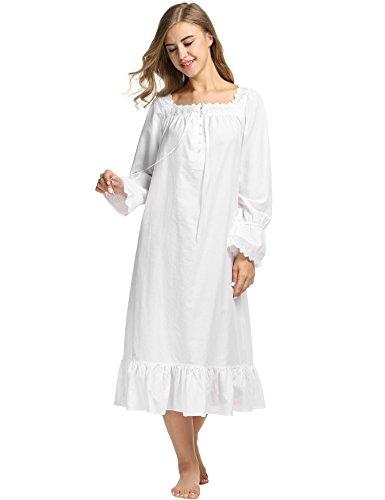 Avidlove Damen Kleid Nachthemd Schlafanzüge Nachtwäsche Negligees Langarm/Kurzarm Kurz Absatz/Lang Absatz Dessous Baumwolle Reine Farbe, B Langarm,weiß Lang, (Weiße Spitze Kostüm)