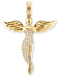 Engelsrufer Women's 925 Sterling Silver Gold Plated Studded with 92 White Zirconia Angel Pendant, Size 52 mm