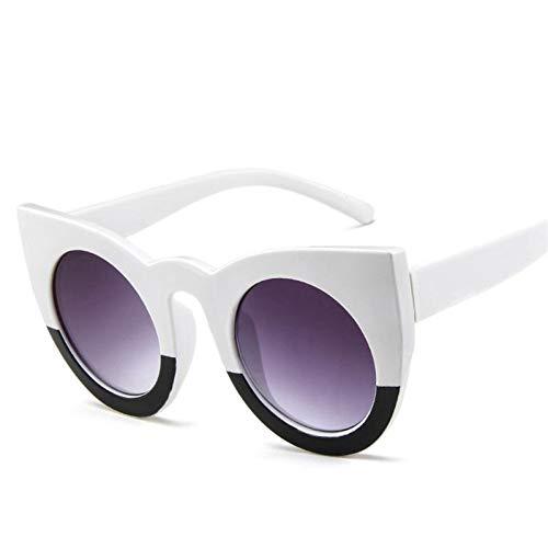 KUNHAN Sonnenbrille Damen dicken Rahmenschwarz weiße Sonnenbrillen Sommermode polarisierte Brille Shades Brille anwendbarReisen, Fahren, Party,Einkaufen,