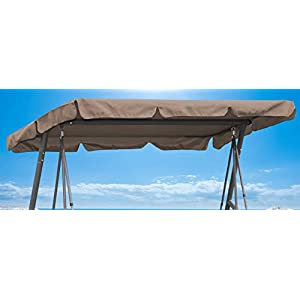 QUICK STAR Ersatzdach 200x145cm Gartenschaukel Universal Hollywoodschaukel 3 Sitzer Taupe UV 50 Ersatz Bezug Sonnendach…