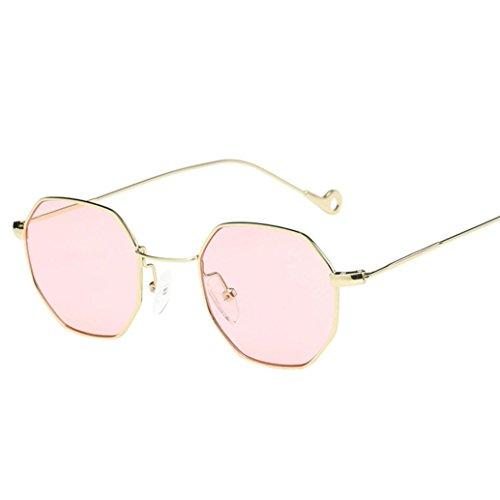 gafas de sol hombre polarizadas Unisex Gafas de sol vintage de moda Gafas irregulares Gafas de sol de espejo de aviador de moda con marco de metal retro de verano Aviador de viaje de Sannysis (rosa)