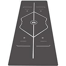 Caucho Natural Pro Yoga Mat Toalla de/Combo (3,5mm), ecológico, antideslizante, lavable a máquina, Ideal para Hot Yoga, Pilates, Bikram, Ashtanga, sudoroso práctica, estiramiento, ejercicios abdominales y General entrenamientos, Line-bla