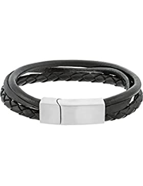 C-Collection by CHRIST Herren-Armband Edelstahl/Leder One Size, schwarz/silber