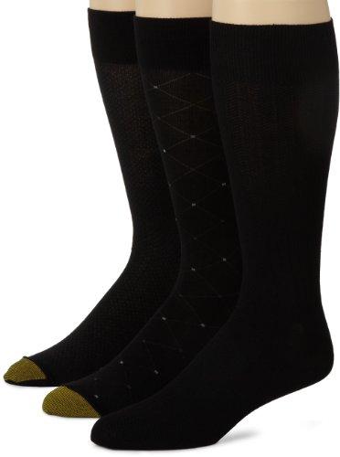Gold Toe Herren Rayon Fashion 3Pack Socken Gr. X-Large, schwarz -