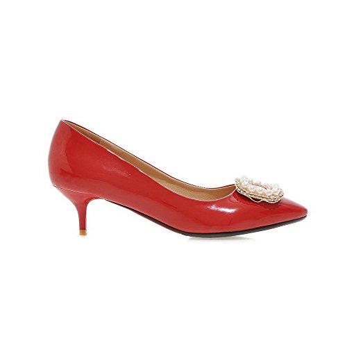 Odomolor Femme Tire Fermeture D'Orteil Pointu à Talon Correct PU Cuir Mosaïque Chaussures Légeres Rouge