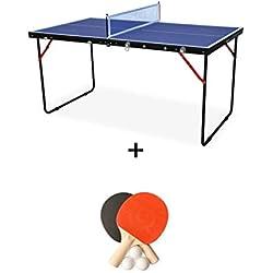 Alice's Garden - Mini Table de ping Pong Pliable Indoor Sapporo Bleue, avec 2 Raquettes et 3 balles, Tennis de Table