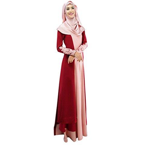 Dreamskull Muslim Abaya Dubai Muslimisch Islamisch Arabisch Indien Türkisch Casual Abendkleid Kaftan Kleid Maxikleid Damen Frauen(L, 01rot)