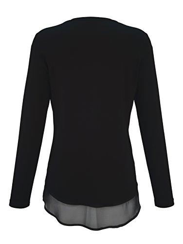 Damen Shirt im Materialmix by MONA Schwarz-Silber