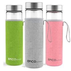 Glasflasche von EPiCO BOTTLES Trinkflasche Glas | Trinkflaschen & Tee-Flasche für Unterwegs & zum Mitnehmen | Ideale Wasser-Flasche aus Glas für Kinder, Schule, Sport, Yoga, Wandern, Reisen, Büro, Uni & Auto | 100% BPA-frei