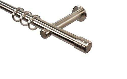 Edelstahl Gardinenstangen 20 mm mit Endstück Rillenkappe, 240 cm (2 x 120 cm)
