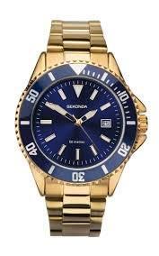Sekonda 1516 - Reloj de Cuarzo para Hombre con Esfera analógica Azul y Pulsera chapada en Oro