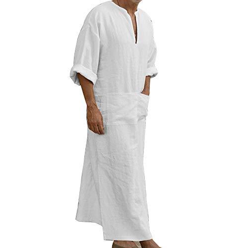 laamei Ethnische Roben Herren Baumwolle Leinen Kaftan Robes V-Ausschnitt Arab Nachtwäsche Mit Taschen Indian Muslim Herrenhemd Lange Bademäntel Morgenmäntel