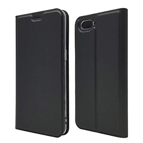 Custodia® Ultra Schlank PU TPU Flip Folio Hülle mit Kartensteckplatz und Standfunktion für Oppo R15 Neo(Schwarz)