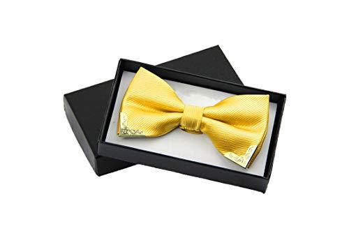 Men Bow Tie Fake Collar Women Silk Tie Butterfly Adjustable Bowtie Halloween Wedding Bow Ties,Golden -