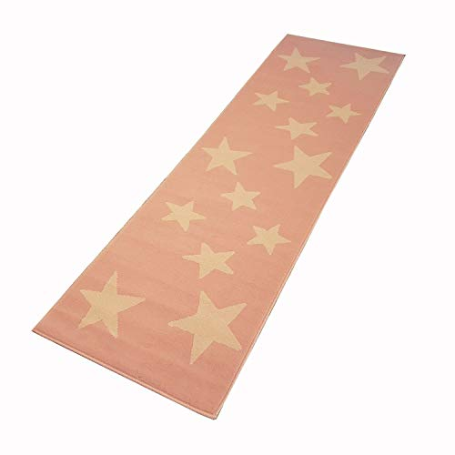 Moderner Läufer Teppich Brücke Teppichläufer Sterne Stars ca. 80x250 cm, Größe:80x250 cm, Farbe:rosa/Creme
