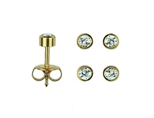 mytoptrendzr-2-pair-yellow-gold-plated-bezel-setting-clear-crystal-sterilized-piercing-stud-earrings