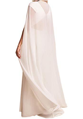 ShineGown Damen Umhang Fuer Frauen Weiss Lange Bridal Wraps Hochzeit Cape Chiffon Party Schals (Vor Allem Kreuzfahrten Halloween)
