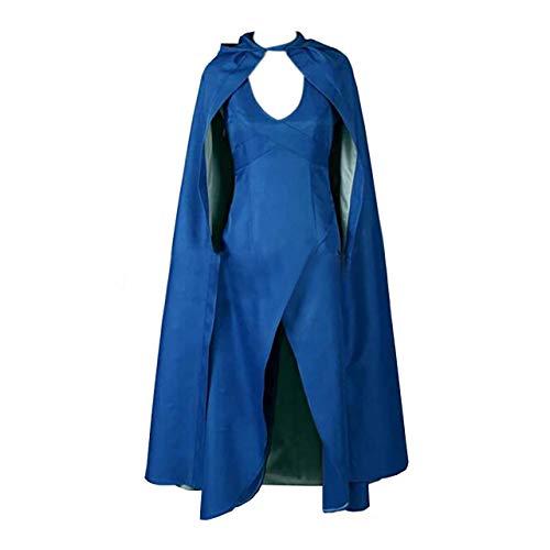 (Gaosheng Cosplay Kostüm Game of Thrones Daenerys Targaryen Festtagskleidung Blau für Cosplay Party)