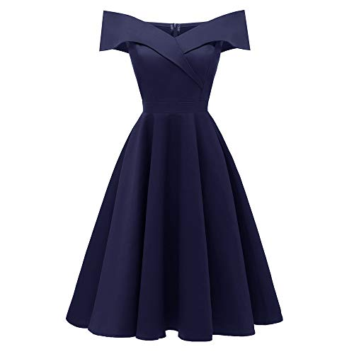 men Rockabilly Kleid Elegante Kleider Lange Kleider Frauen Retro Sommer Festliche Damenkleider Knielang - Damen Vintage Bodycon Ärmellose Abend Party Prom Swing Dress ()