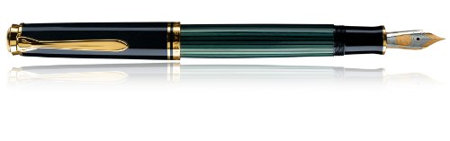 Best Price Pelikan Souverän M 400 14-K/585 985721 Fountain Pen Bi-Colour Gold Nib Width F Black / Green Review