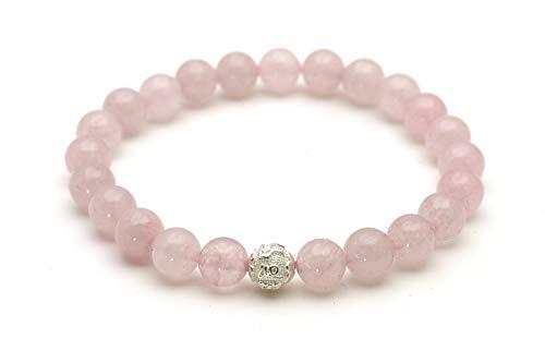 Echtes Rosenquarz Armband - Glücksbringer mit Naturstein Perlen und 925 Sterling Silberperle