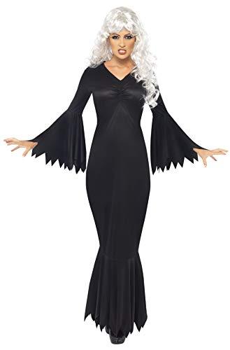 Smiffys Disfraz de vampiresa de Medianoche, Negro, con túnica