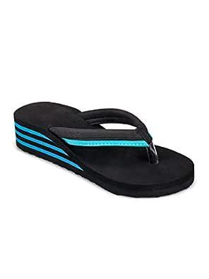 Pkkart Women's Sky Blue EVA High Heel Comfort Flip Flops (Euro 37/Ind 4)