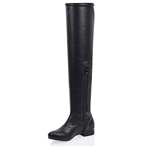 Essex Glam Frauen Denbar Oberschenkeln hohe Synthetisches Stiefeln Schwarz Kunstleder