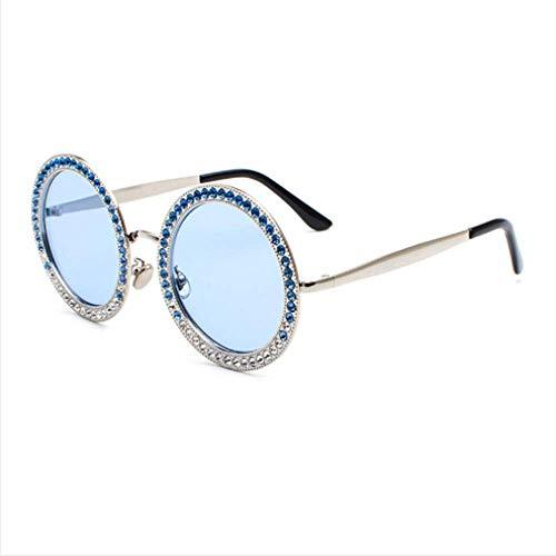 MNGF&GC Galvanische Sonnenbrille mit rundem Rahmen Diamond Retro Sunglasses Damen Cat Eye Metallic Diamond Trend Sonnenbrille, Blau