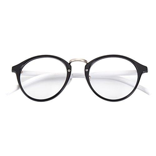 CGID Classic Nerdbrille Nostalgie Pantobrille Streberbrille Hornbrille clear lens Damen...