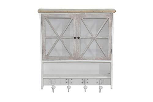 elbmöbel Wandregal Gewürzregal mit Schubladen im Landhaus-Stil aus Holz Mehrfarbig (Weiß-Antik, B57 x H62 x T14 cm) -