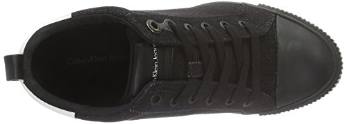 Calvin Klein Jeans Rizzo Denim/coating, Sneakers basses femme Multicolore (Black/Off White)