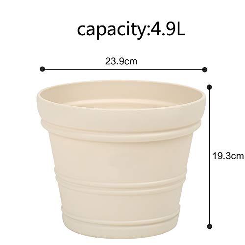 Grande Couleur Pot de Fleur Créatif Lignes convexes Balcon Indoor Plein air Gros Calibre Style européen Plastique Pot de Fleur-G 4.9L