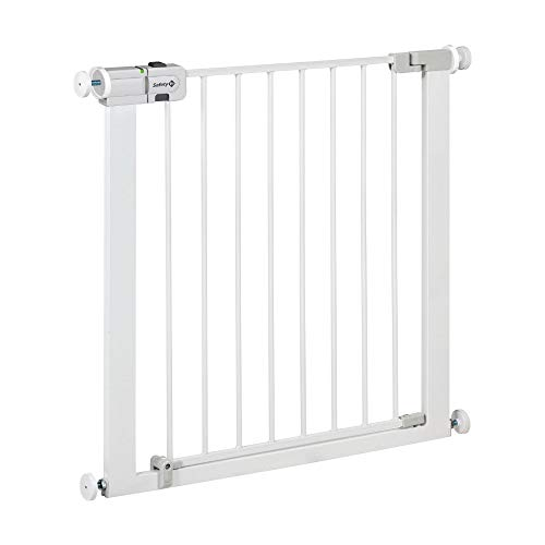Easy Close Metal Cancelletto di Sicurezza per Bambini, Cani, Scale, 73 a 80 cm (max 136 cm con estensioni non incluse), Fissaggio a Pressione, Compatibile con adattatore per ringhiere, Metallo Bianco