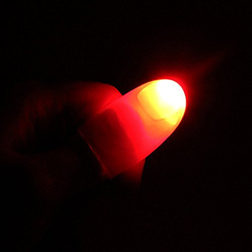 Lanlan Magic Trick Finger Lichter für Dance Party Requisiten–Blau/Grün/Rot Licht 1Paar Creative Magic Daumen Spitze LED-Licht, rot - Led Finger Licht