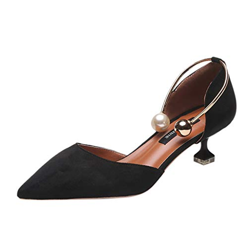LILIHOT Frauen Casual Stiletto Perle Ring Casual Schuhe Sandalen einzelne Schuhe Damen niedrige Ferse Schuhe flachen Mund Spitze Flache Schuhe feine Ferse komfortable high Heels (Ringe Herd)