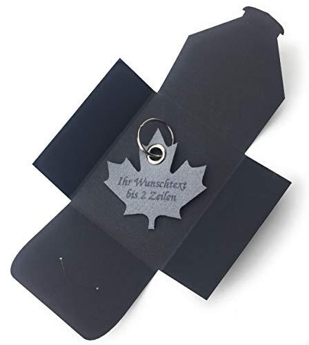 filzschneider Schlüsselanhänger aus Filz - Ahornblatt - Kanada - grau/hell-grau mit Namensgravur -, Talismann als besonderes Geschenk mit Öse und Schlüsselring - Made-in-Germany