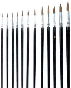 12 Künstlerpinsel Spitzpinsel Pinsel für Ölfarben Acrylfarben Aquarellfarben von artico bei TapetenShop